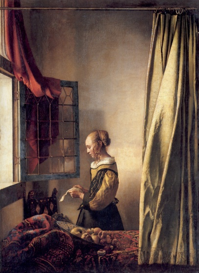 A girl reading a letter 1657, Vermeer, Gemaldegalerie, Berlin