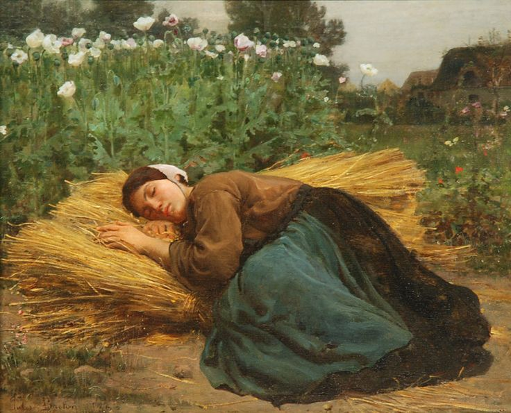 Jules Breton WOman Alseep On Hay