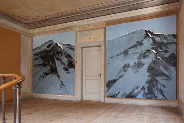 ARTE HOTEL BREGAGLIA, 2010, Promontogno, SOL, Nr. 1 and SOL, Nr. 2, 2010, 265x235cm each, oil on canvas